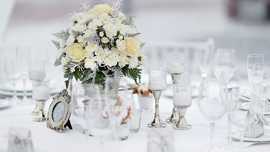 Dekoration bei Hochzeit im Winter