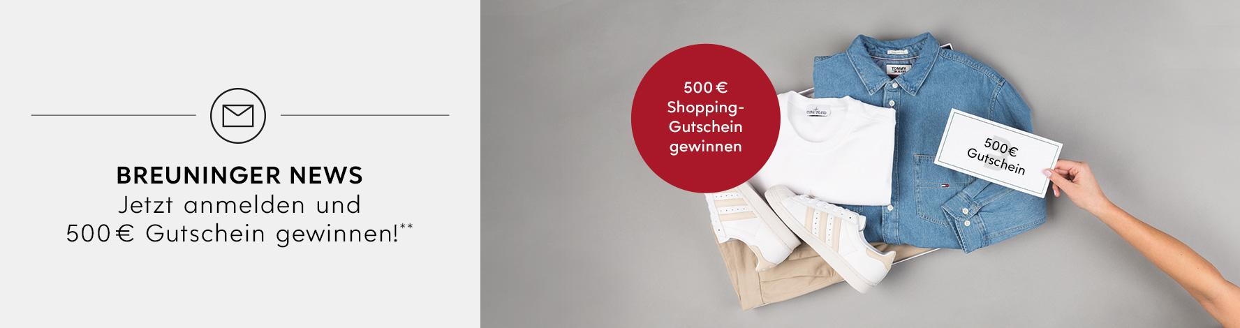 Jetzt Anmelden und einen von drei 500 € Shopping Gutscheinen gewinnen:**