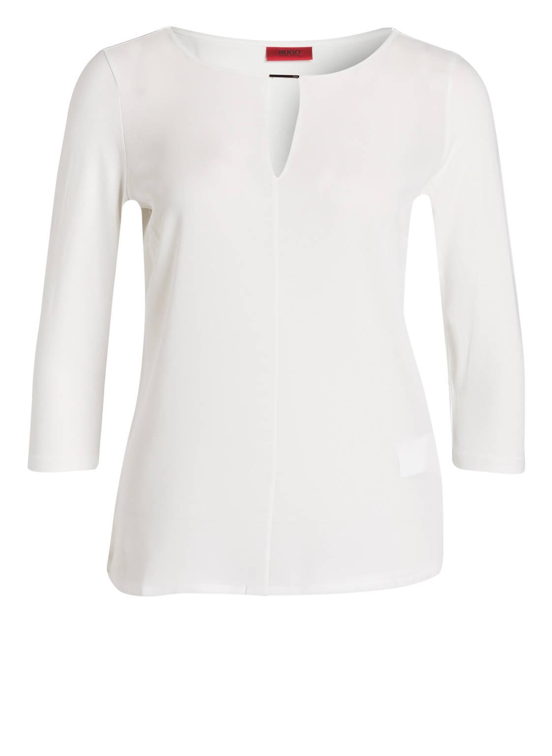 Artikel klicken und genauer betrachten! - Das Shirt DIFELA von HUGO begeistert mit puristischer Eleganz. Das Modell mit Stretch-Anteil sorgt für Leichtigkeit und höchsten Tragekomfort. Die V-förmige Aussparung am Rundhalsausschnitt setzt feine Akzente. Ein Styling-Partner für stilvolle Looks! Details: Taillierter Schnitt. Rundhalsausschnitt. 3/4-Ärmel. Maße bei Größe S: Rückenlänge ab Schulter: 59 cm Der Artikelversand kostet soweit nicht anders angegeben 3.95 € und der Artikel gehört zur Kategorie: Bekleidung. | im Online Shop kaufen