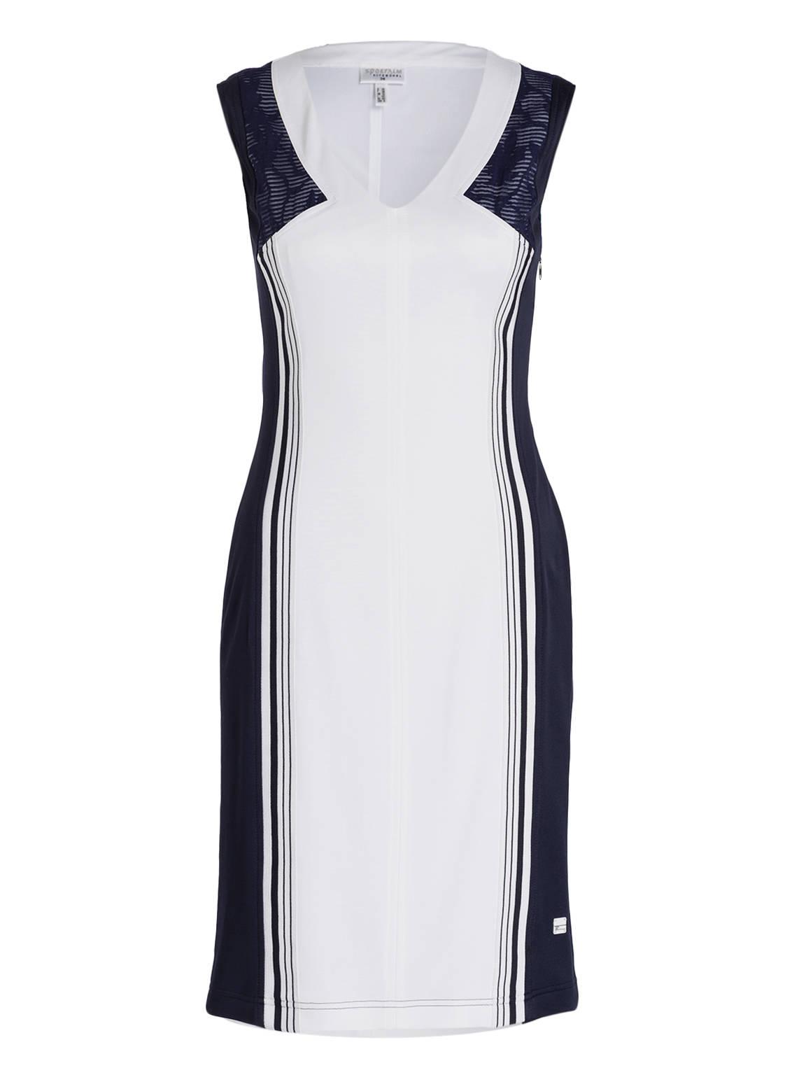 Artikel klicken und genauer betrachten! - Das ärmellose Kleid TIMA von SPORTALM präsentiert sich mit einem zurückhaltenden Design in Bicolor-Optik. Der weite V-Ausschnitt sowie die antaillierte Schnittführung unterstreichen die feminine Note des Damenmodells, sodass Sie auch auf dem Golfplatz eine gute Figur machen. Dank der hohen Elastizität genießen Sie zudem optimale Bewegungsfreiheit. Investieren Sie in dieses Must-have! Details: Antaillierter Schnitt. V-Ausschnitt. Ärmellos. Schließt mit nahtfeinem Reißverschluss in der Seite. Komplett   im Online Shop kaufen