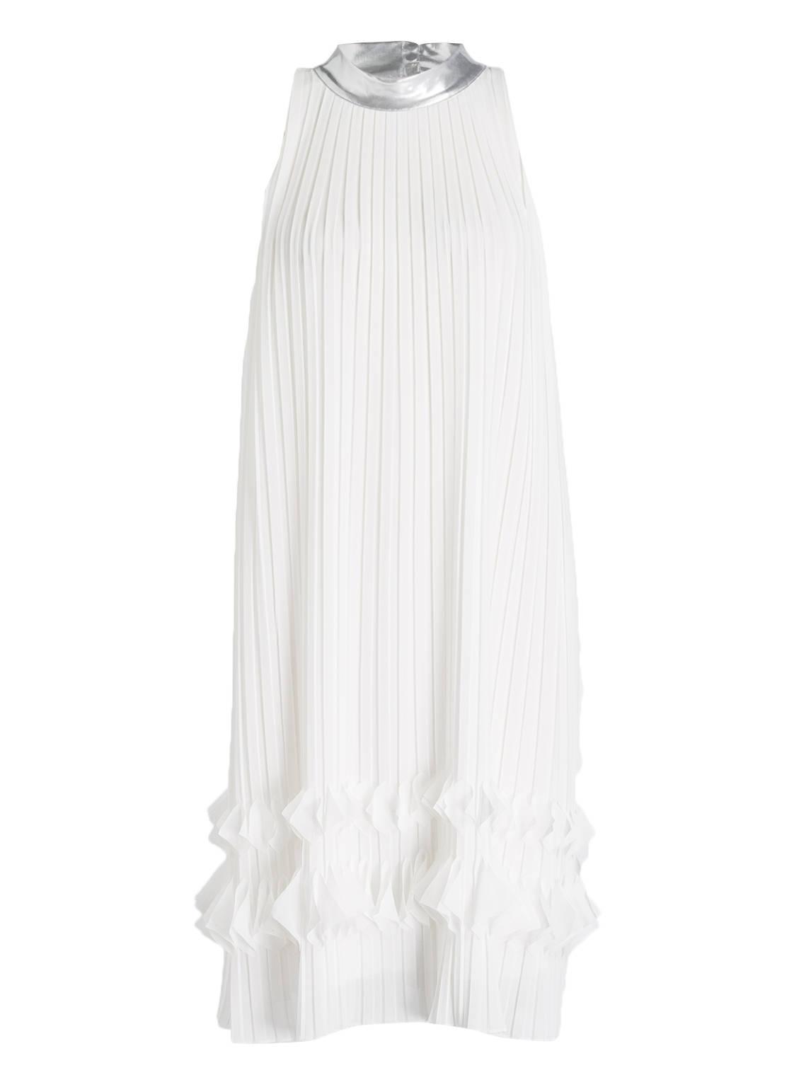 Artikel klicken und genauer betrachten! - Ein Traum in Weiß ist das bezaubernde Kleid von RIANI für Damen. Das Modell brilliert mit seinem fließenden Schnitt und dem wunderschönen Plissee-Design. Ein kontrastierender Rundhalsausschnitt mi Magnetverschluss im Nacken sowie der luftige Besatz am Saum veredeln den femininen Look. Ein absolutes Lieblings-Piece! Details: A-Linie. Rundhalsausschnitt. Plissee-Design. Schlitz mit Magnetverschluss im Nacken. Komplett gefüttert. Maße bei Größe 36: Gesamtlänge ab Schulter: 102 cm. Brustweite: 90 cm.   im Online Shop kaufen