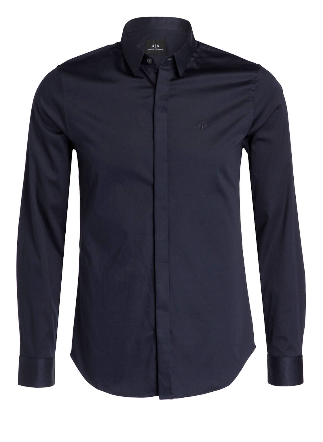 Image of Armani Exchange Hemd Slim Fit Mit Verdeckter Knopfleiste blau
