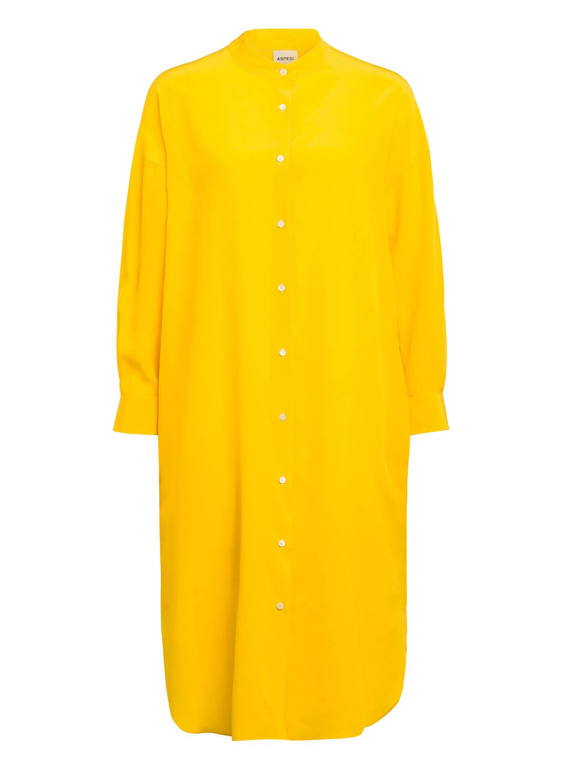 Image of Aspesi Hemdblusenkleid Aus Seide gelb