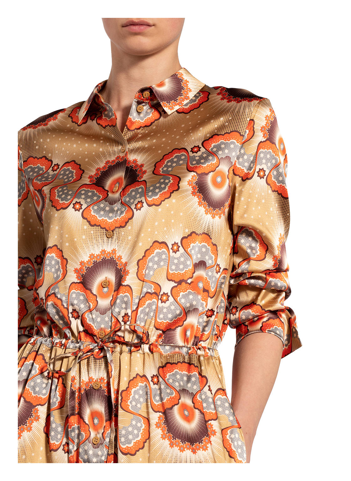 Damen Bekleidung Hemdblusenkleid mit Seide von herzensangelegenheit
