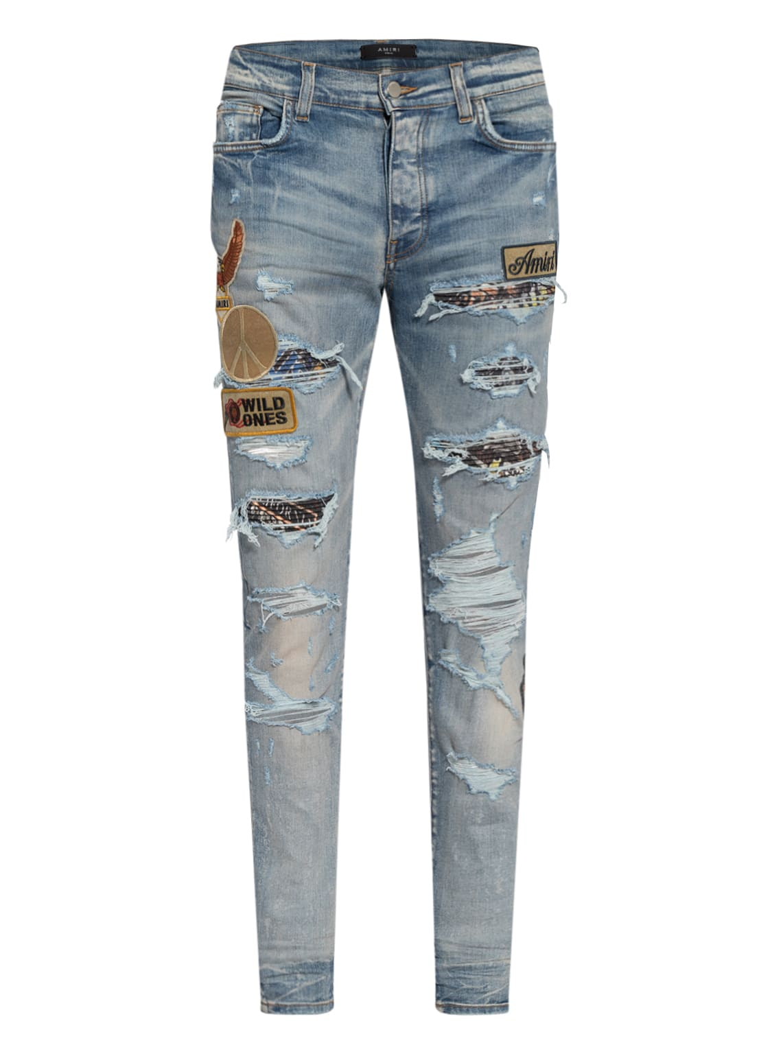Image of Amiri Destroyed Jeans Extra Slim Fit blau