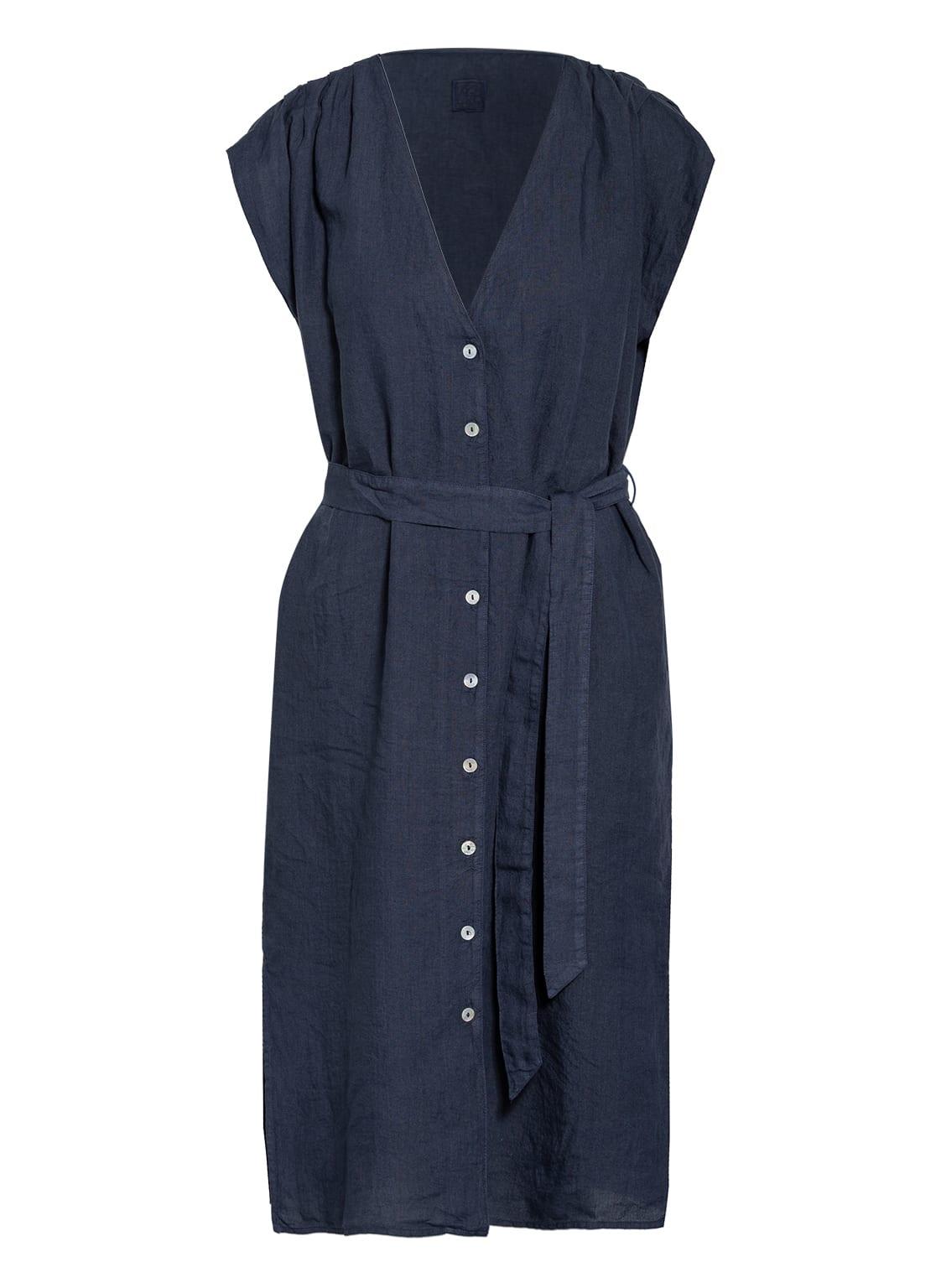 Image of 120%Lino Hemdblusenkleid Aus Leinen blau