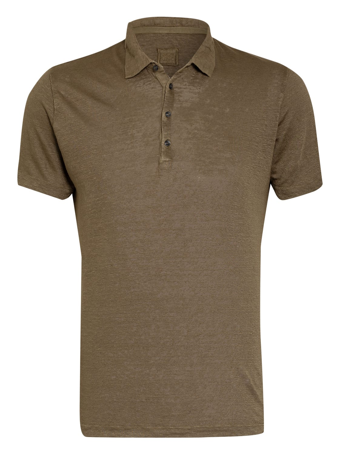 Image of 120%Lino Jersey-Poloshirt Slim Fit Aus Leinen gruen