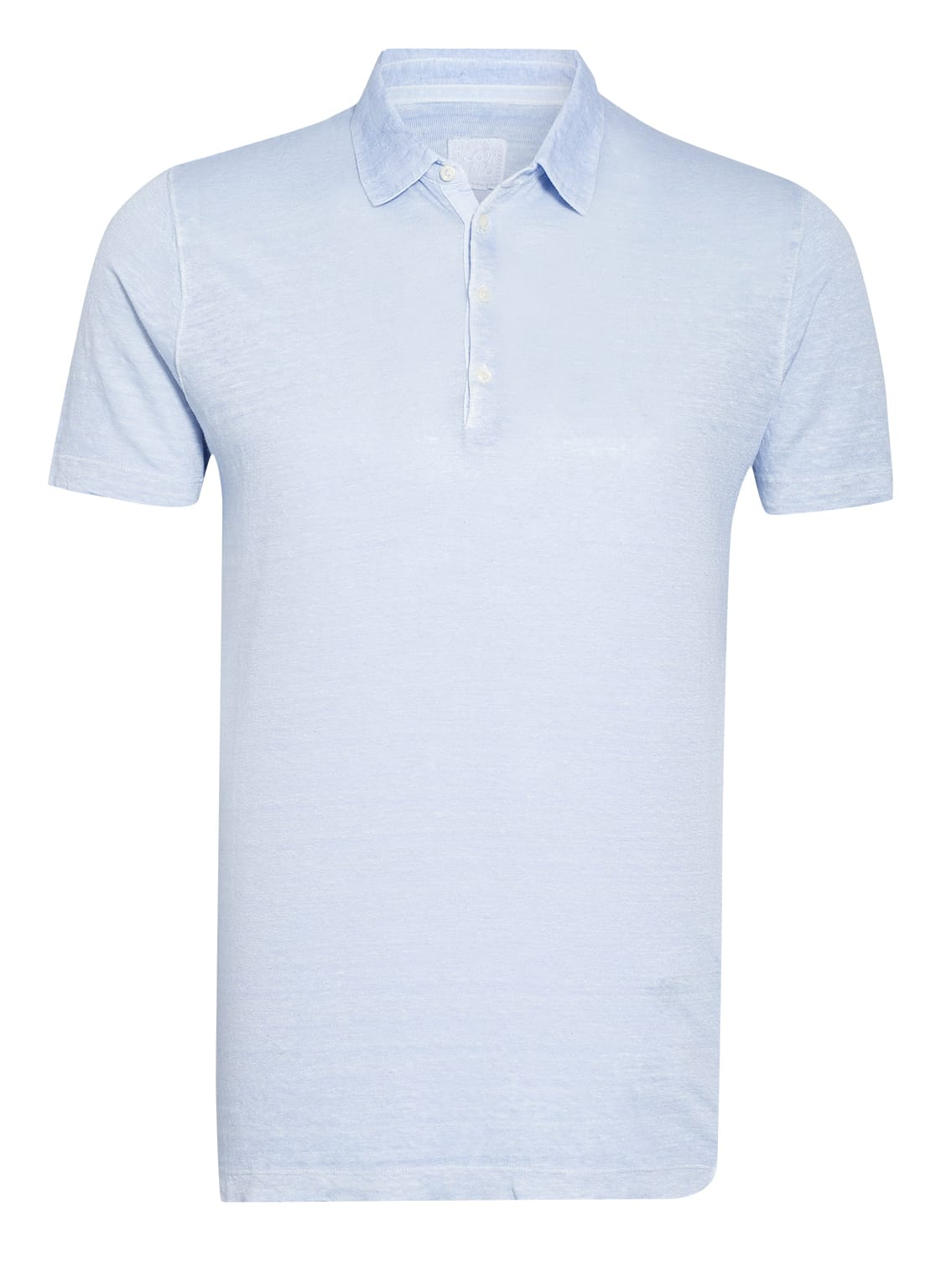 Image of 120%Lino Jersey-Poloshirt Slim Fit Aus Leinen blau