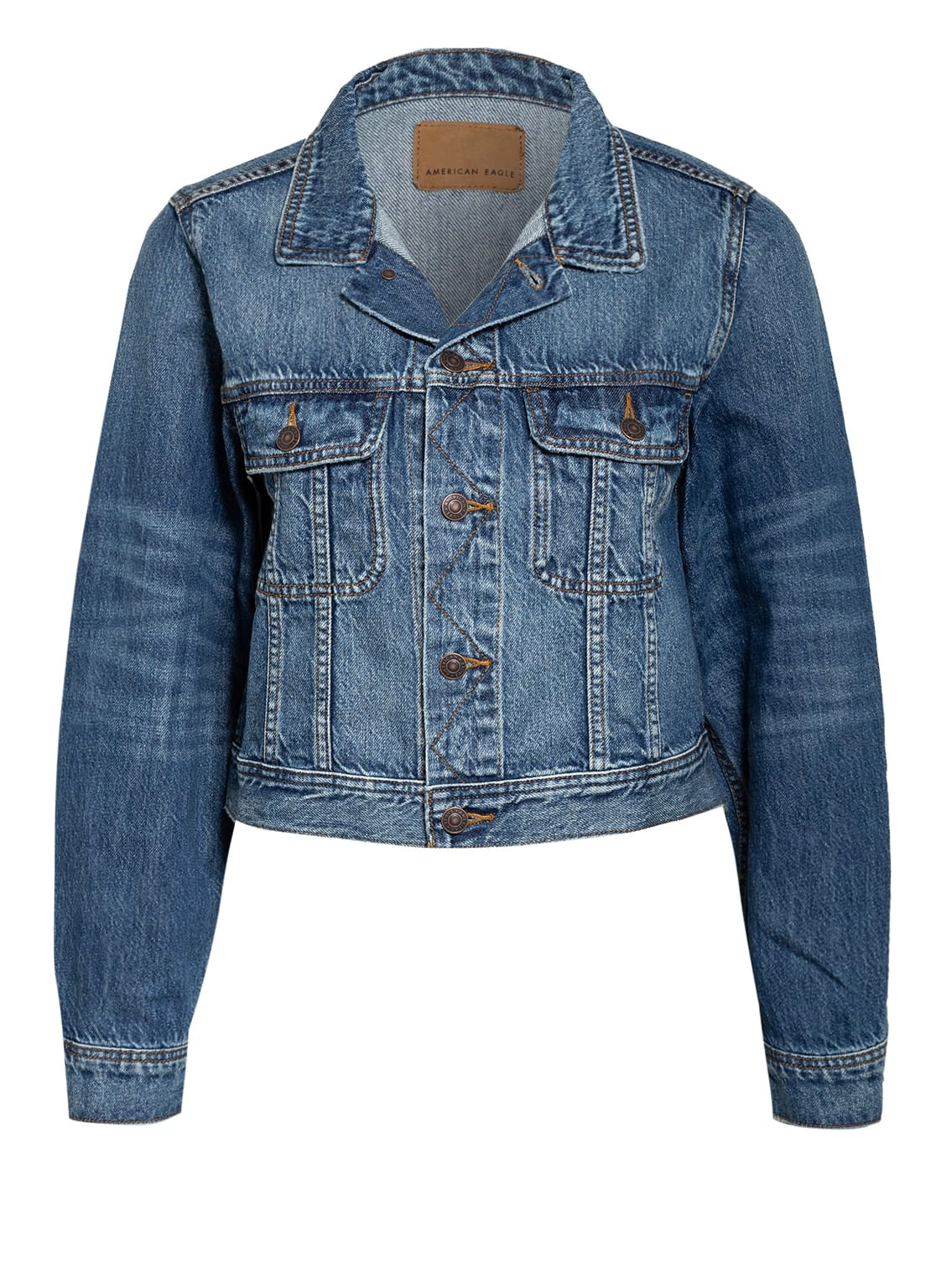 Image of American Eagle Cropped-Jeansjacke weiss