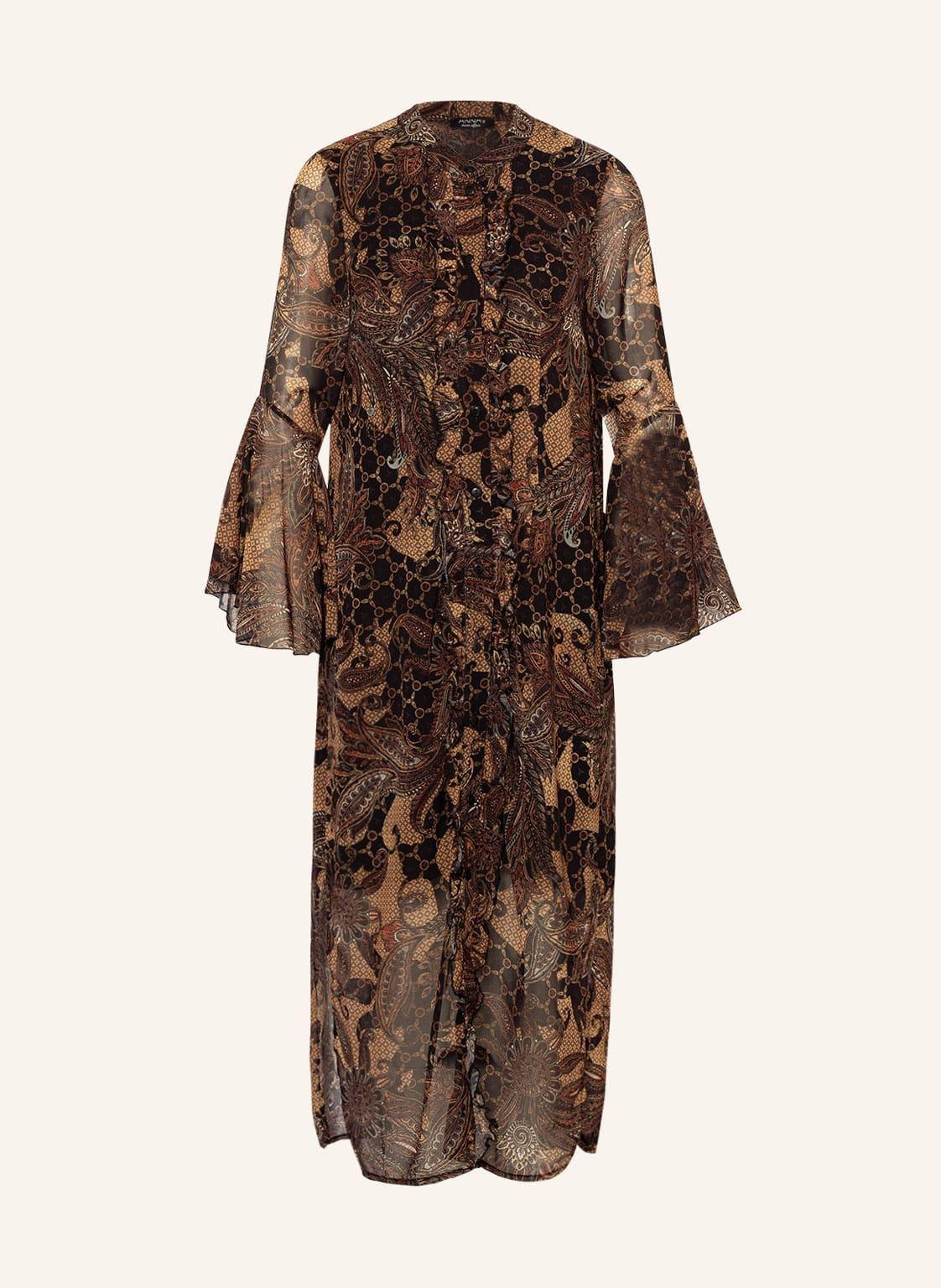 Image of Anna's Kleid Mit Volantbesatz braun