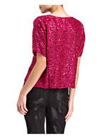 velvet Blusentop mit Paillettenbesatz, Farbe: PINK  (Bild 1)