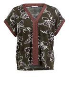 mey Lounge-Shirt COSMA, Farbe: OLIV/ WEISS (Bild 1)