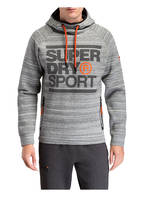 Superdry Stretch-Hoodie GYM TECH, Farbe: GRAU/ WEISS (Bild 1)