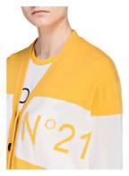 N°21 Strickjacke, Farbe: GELB/ WEISS GESTREIFT (Bild 1)