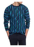 CARLO COLUCCI Pullover Jacquard, Farbe: DUNKELBLAU/ BLAU (Bild 1)