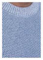 BOSS Pullover LALBERTO in Strukturstrick, Farbe: HELLBLAU/ HELLGRAU (Bild 1)