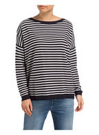 BOSS Oversized-Pullover IVITTA, Farbe: DUNKELBLAU/ WEISS GESTREIFT (Bild 1)
