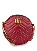 GUCCI Umhängetasche ROUND GG MARMONT MINI, Farbe: DUNKELROT (Bild 1)