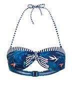 Hot Stuff Bandeau-Bikini-Top BLUE FLOWERS, Farbe: DUNKELBLAU/ WEISS/ GRÜN (Bild 1)