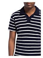 ORLEBAR BROWN Frottee-Poloshirt, Farbe: DUNKELBLAU/ WEISS GESTREIFT (Bild 1)