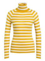BOSS Rollkragenpullover , Farbe: DUNKELGELB/ WEISS GESTREIFT (Bild 1)