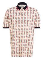 GUCCI Piqué-Poloshirt, Farbe: BEIGE/ ROT/ BLAU (Bild 1)