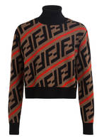 FENDI Rollkragenpullover, Farbe: SCHWARZ/ CAMEL/ ORANGE (Bild 1)