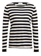 ALLUDE Pullover mit Leinen, Farbe DUNKELBLAU/ WEISS GESTREIFT (Bild 1)