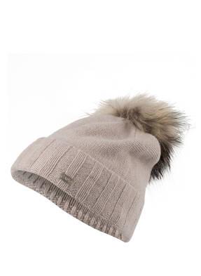 CAPO Cashmere-Mütze ROLL UP mit Pelzbommel