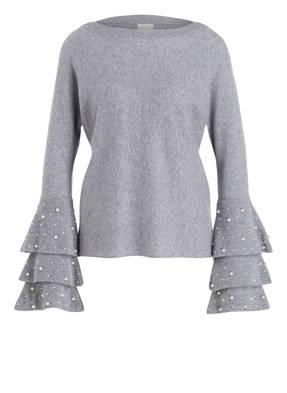 Mrs & HUGS Cashmere-Pullover mit Perlenbesatz