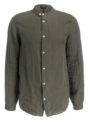 EMPORIO ARMANI Leinenhemd Regular Fit mit Stehkragen