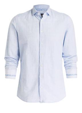 HACKETT LONDON Hemd DOBBY Slim-Fit mit Leinenanteil