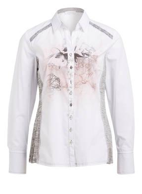 just white Bluse mit Schmucksteinbesatz
