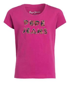 Pepe Jeans T-Shirt mit Paillettenbesatz