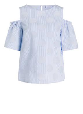just white Cold-Shoulder-Bluse