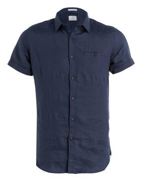 DSTREZZED Halbarm-Leinenhemd Slim Fit