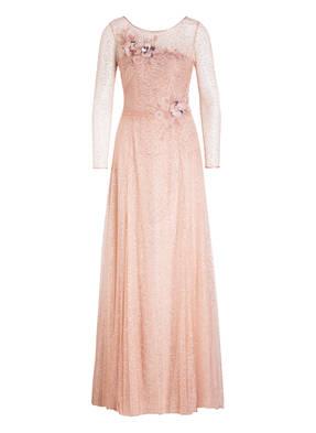 MARCHESA NOTTE Kleid mit Glitzer und Tüllblütenbesatz