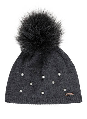 norton Mütze mit Perlenbesatz und Kunstpelzbommel