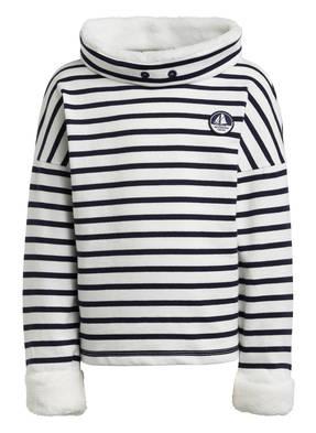PETIT BATEAU Sweatshirt mit Kunstfellbesatz