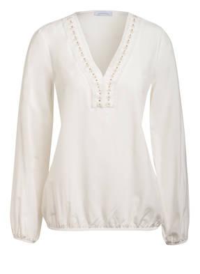 just white Blusenshirt mit Schmucksteinbesatz