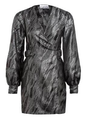 GANNI Jacquard-Kleid zum Wickeln mit Glitzergarn
