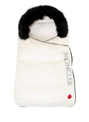 MONCLER Schlafsack mit Daunenfüllung und Kapuze mit abnehmbarem Echtpelzbesatz