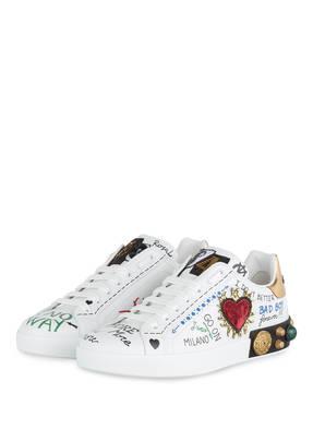 DOLCE&GABBANA Sneaker PORTOFINO mit Schmucksteinbesatz