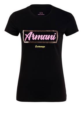 ARMANI EXCHANGE T-Shirt mit Schmucksteinbesatz