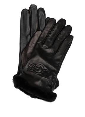 UGG Lederhandschuhe mit Echtfellbesatz und Touch-Funktion