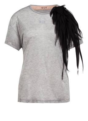N°21 T-Shirt mit Seidenbesatz