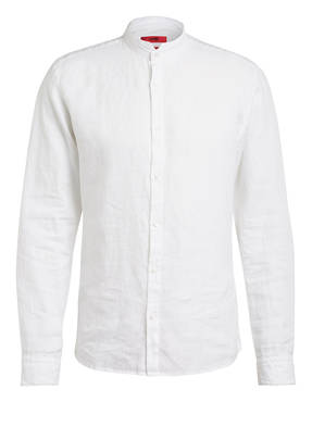 HUGO Leinenhemd ELVORINI Extra Slim Fit mit Stehkragen