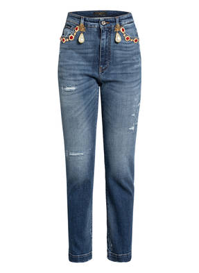 DOLCE&GABBANA Destroyed Jeans mit Schmucksteinbesatz