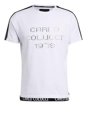 CARLO COLUCCI T-Shirt mit Galonstreifen und Schmucksteinbesatz