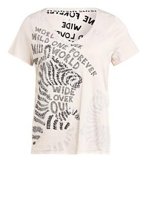oui T-Shirt mit Paillettenbesatz